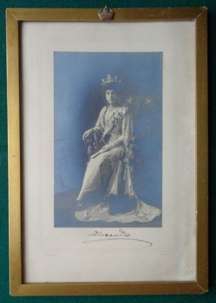 Antique Signed Photo W&D Downey Queen Alexandra in Crown for Connaught Wedding